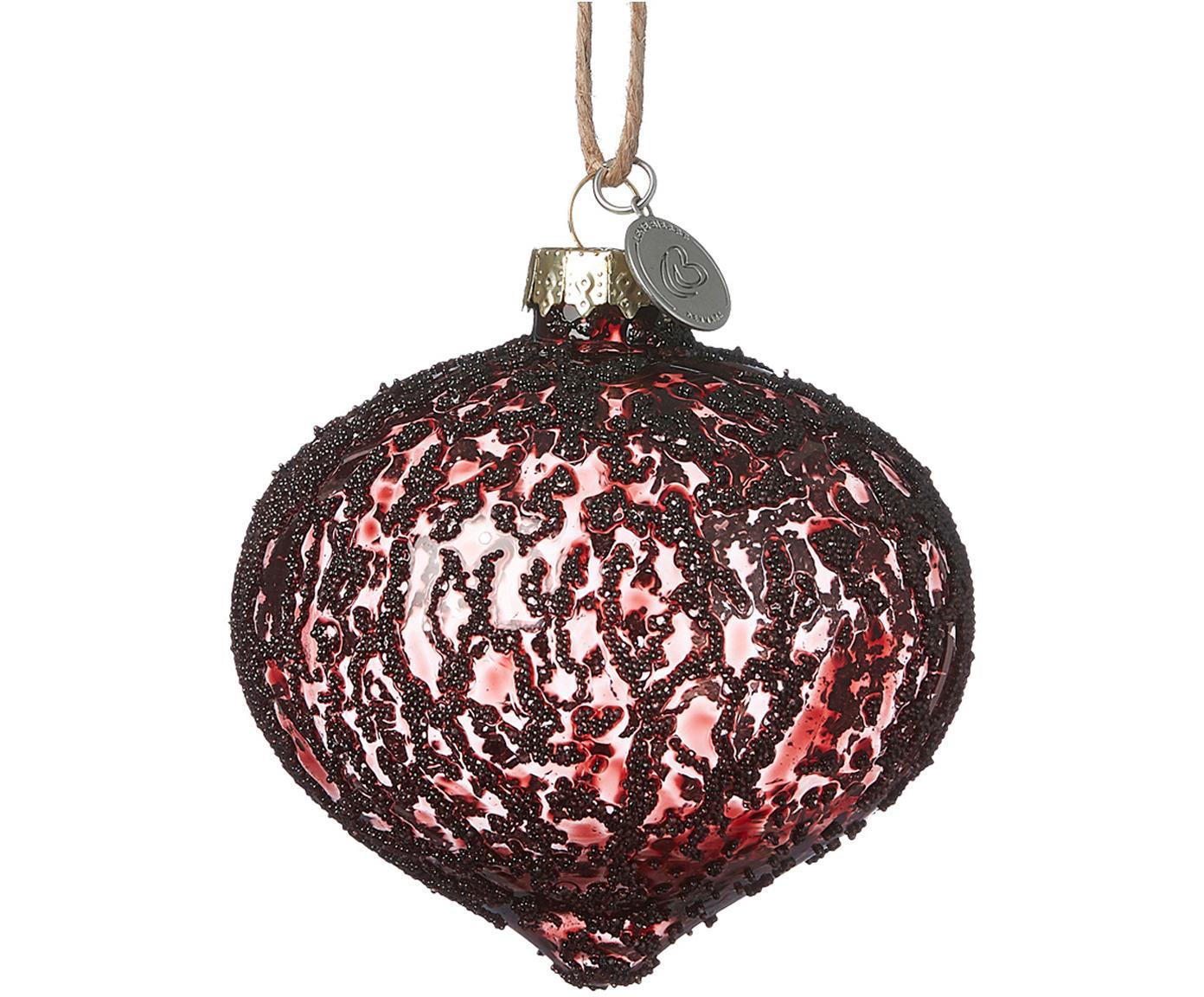 Kerstballen Charity, 2 stuks, Donkerrood, Ø 8 x H 8 cm
