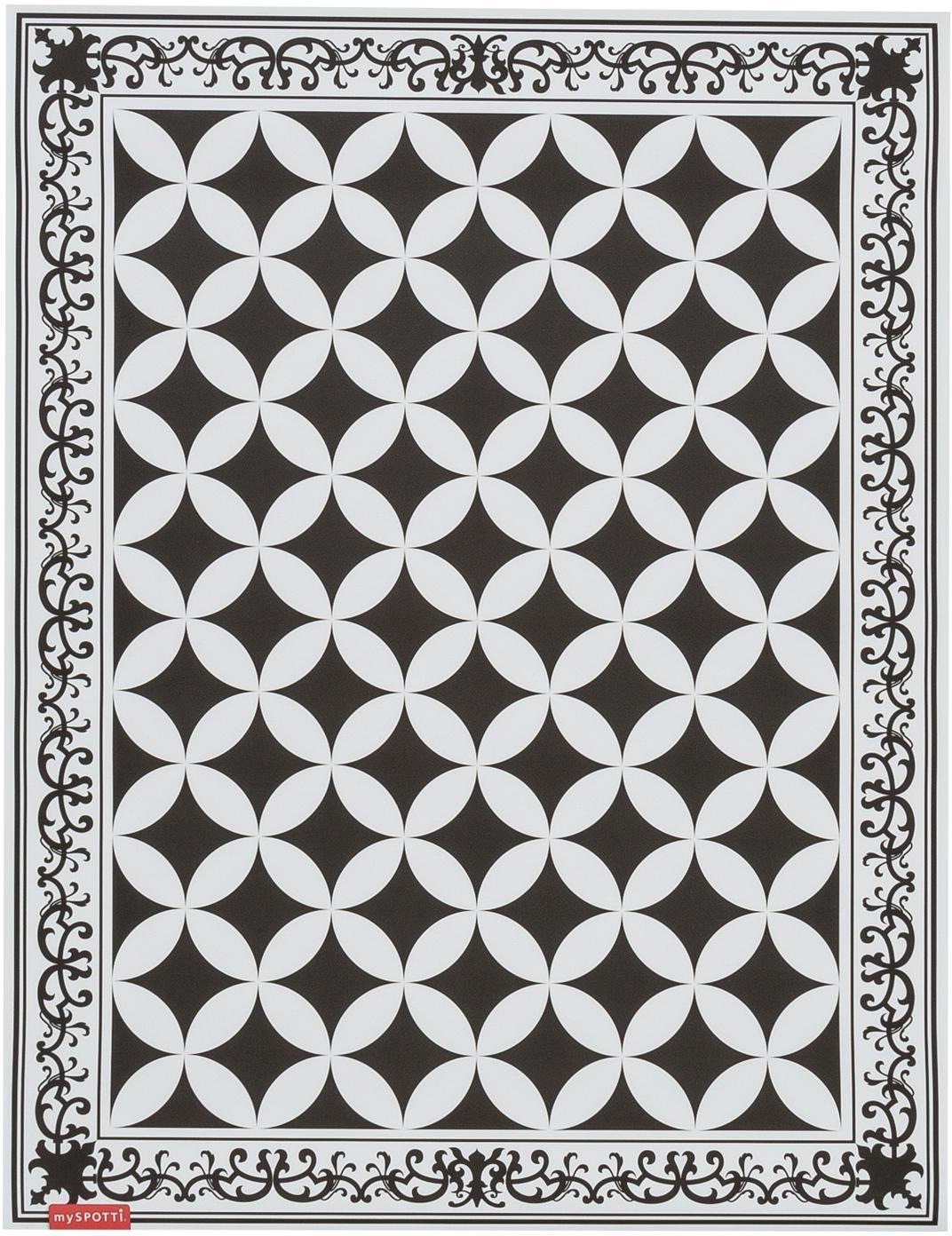 Vinyl-Bodenmatte Chadi, Vinyl, Schwarz, Weiß, 65 x 85 cm