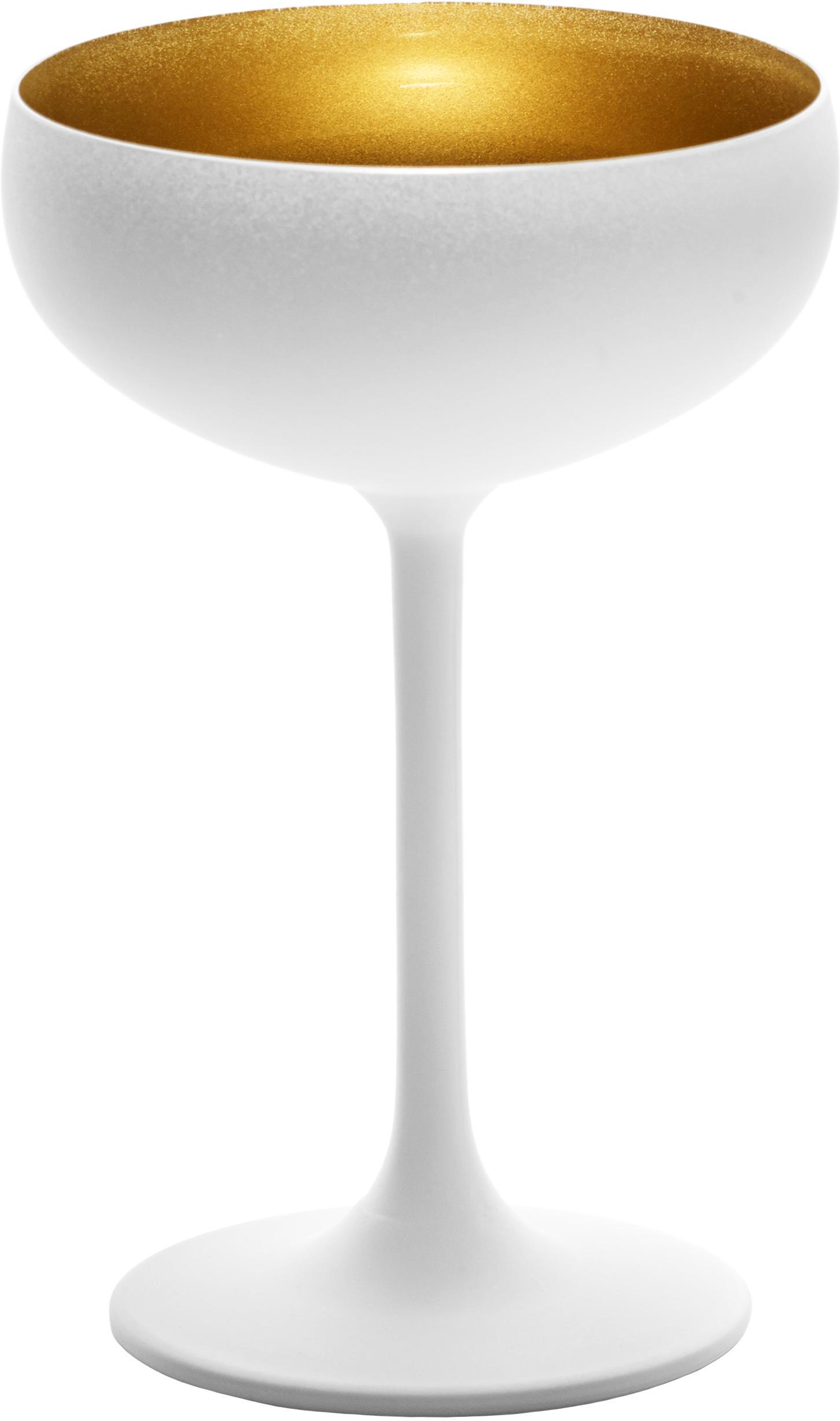 Kristallen champagneglazen Elements in wit/goudkleurig, 6 stuks, Kristalglas, gecoat, Wit, messingkleurig, Ø 10 x H 15 cm