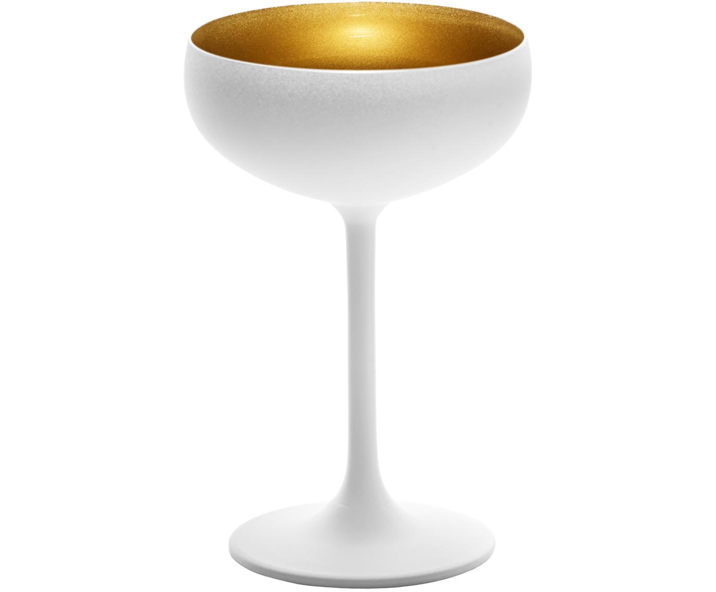Coppa champagne in cristallo Elements 6 pz, Cristallo, rivestito, Bianco, ottonato, Ø 10 x Alt. 15 cm