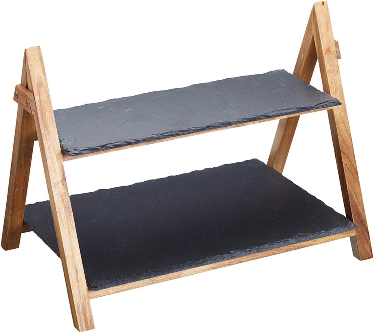 Etażerka Dark, Stelaż: drewno naturalne, Antracytowy, drewno naturalne, S 40 x W 34 cm