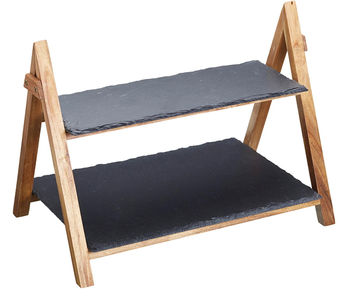Etagère Dark, Frame: hout, Plateaus: leisteen, Antraciet, houtkleurig, 40 x 34 cm