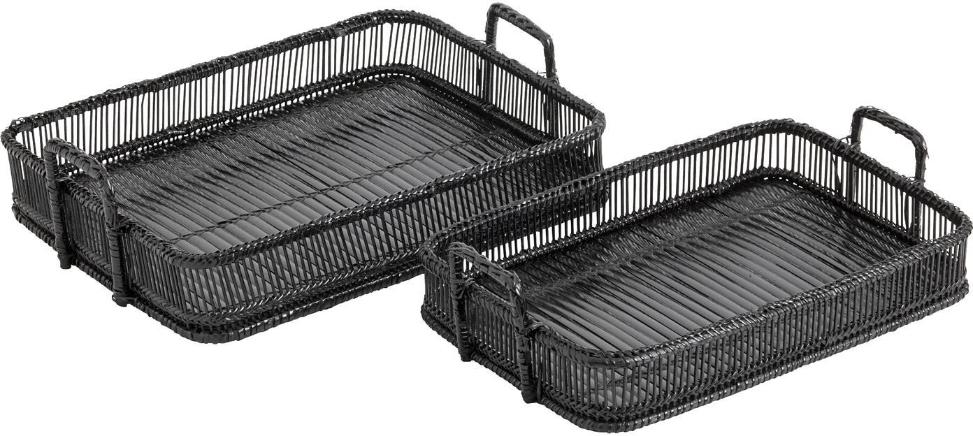 Bambus-Serviertablett Bila in Schwarz, 2er-Set, Bambus, Schwarz, Sondergrößen
