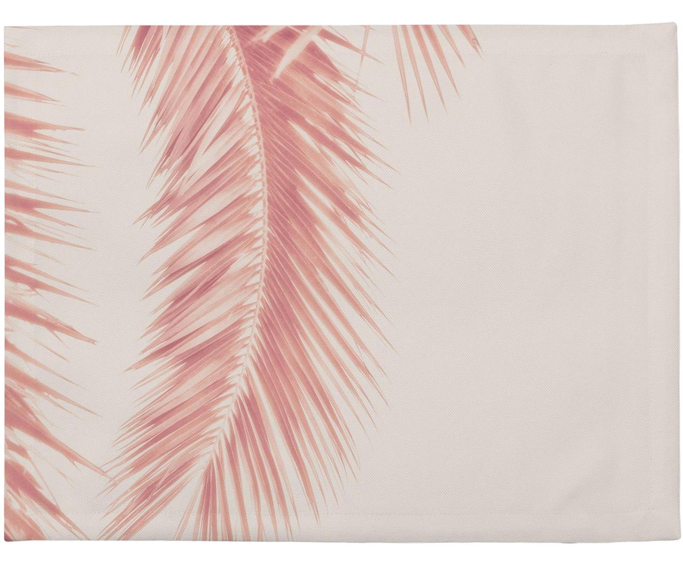 Manteles individuales Palm Leaves, 4uds., Poliéster, Tonos rosas, An 35 x L 45 cm