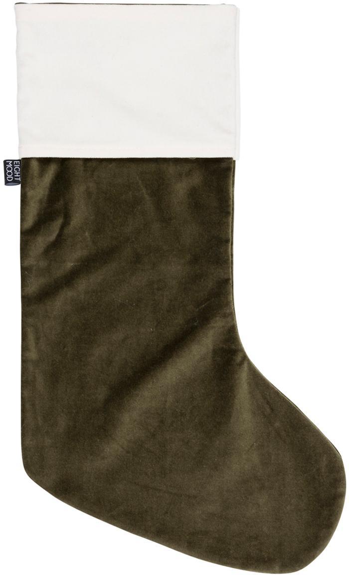 Calza della befana Veronica, Cotone, Verde, bianco, Larg. 25 x Alt. 45 cm