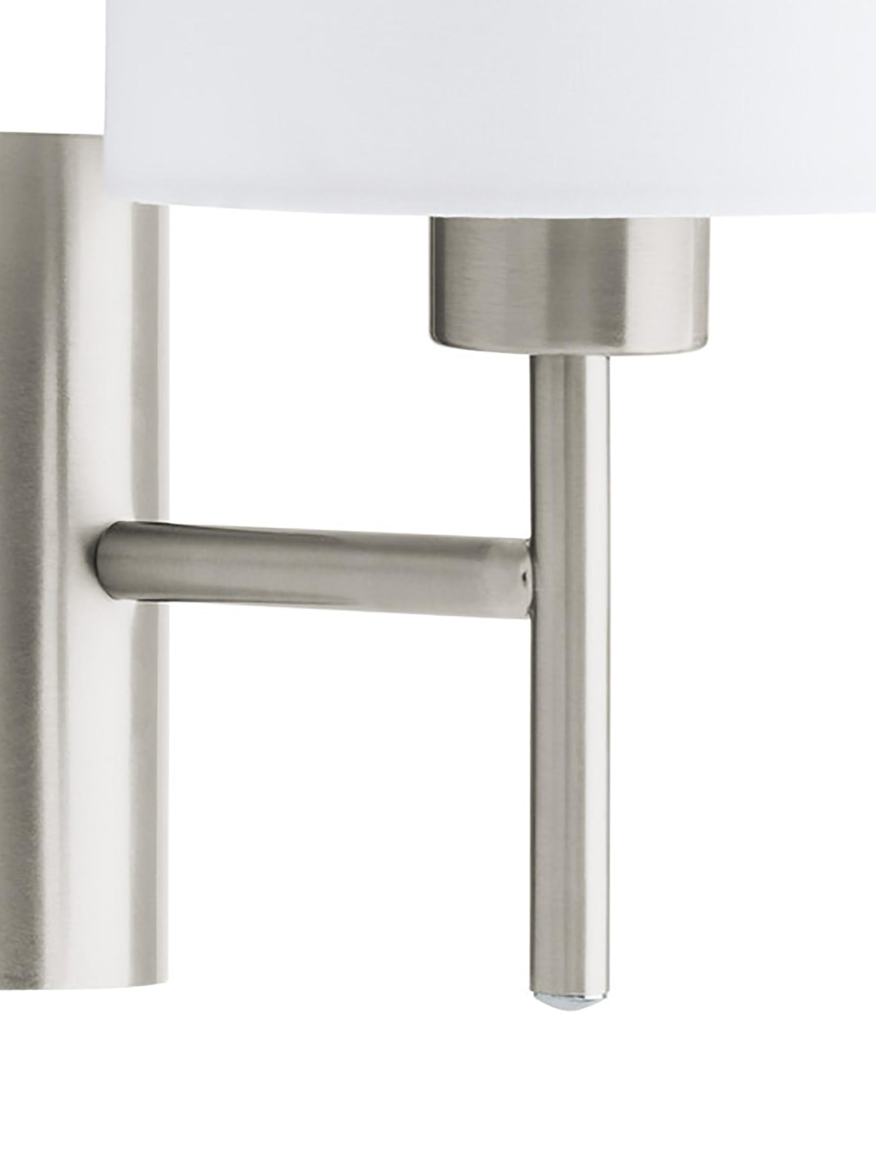 Applique Mick, Baldacchino: metallo nichelato, Paralume: tessile, Bianco, argentato, Ø 15 x Alt. 31 cm