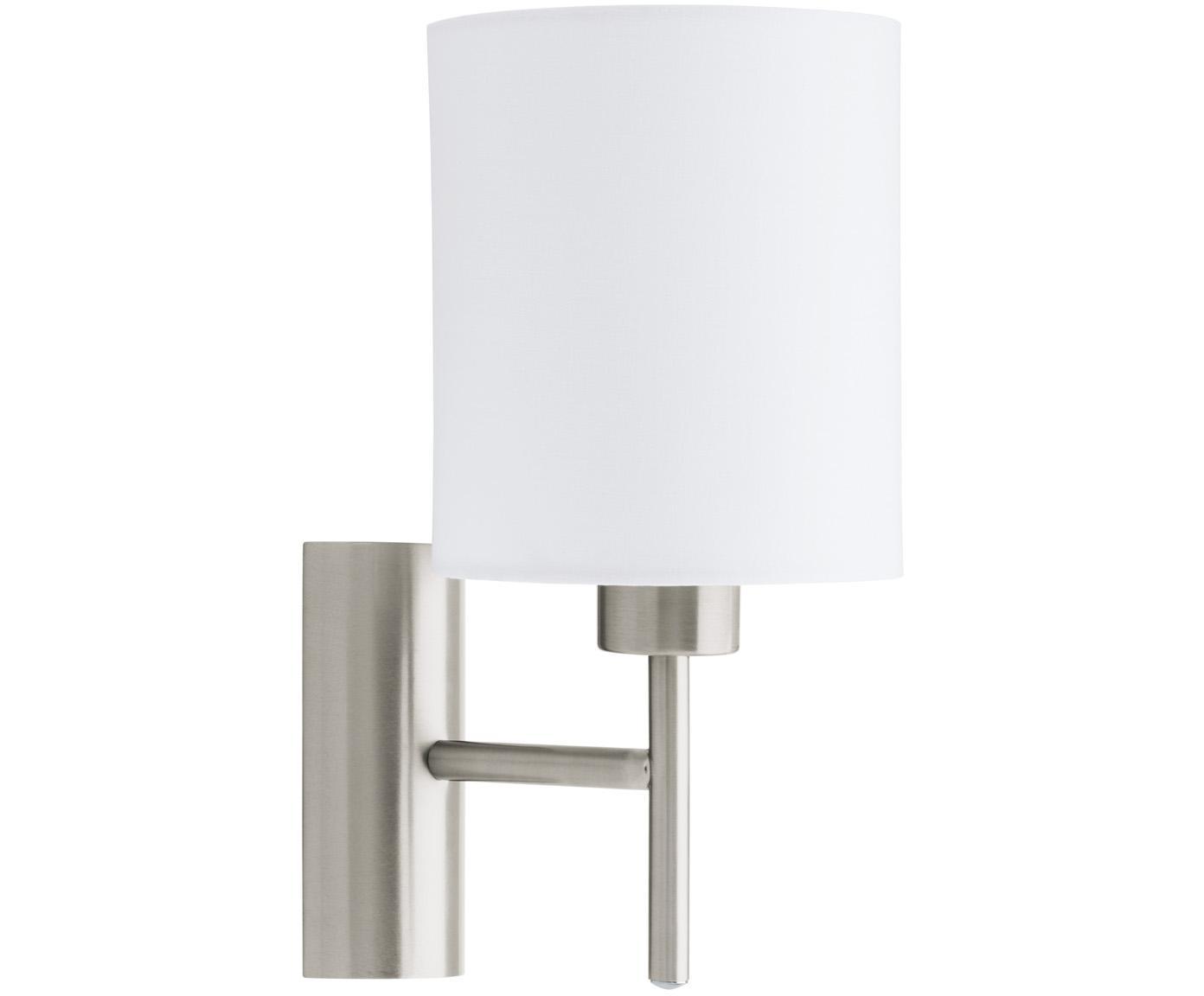 Wandlamp Mick, Baldakijn: vernikkeld metaal, Lampenkap: textiel, Wit, zilverkleurig, Ø 15 x H 31 cm