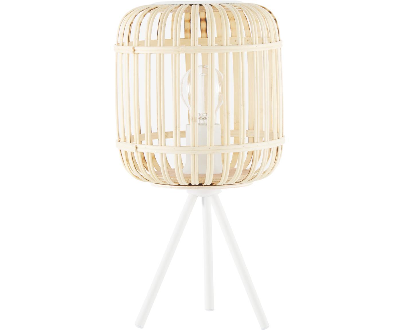 Boho-Tischleuchte Adam aus Bambus, Lampenschirm: Bambus, Lampenfuß: Metall, pulverbeschichtet, Weiß, Beige, Ø 21 x H 42 cm