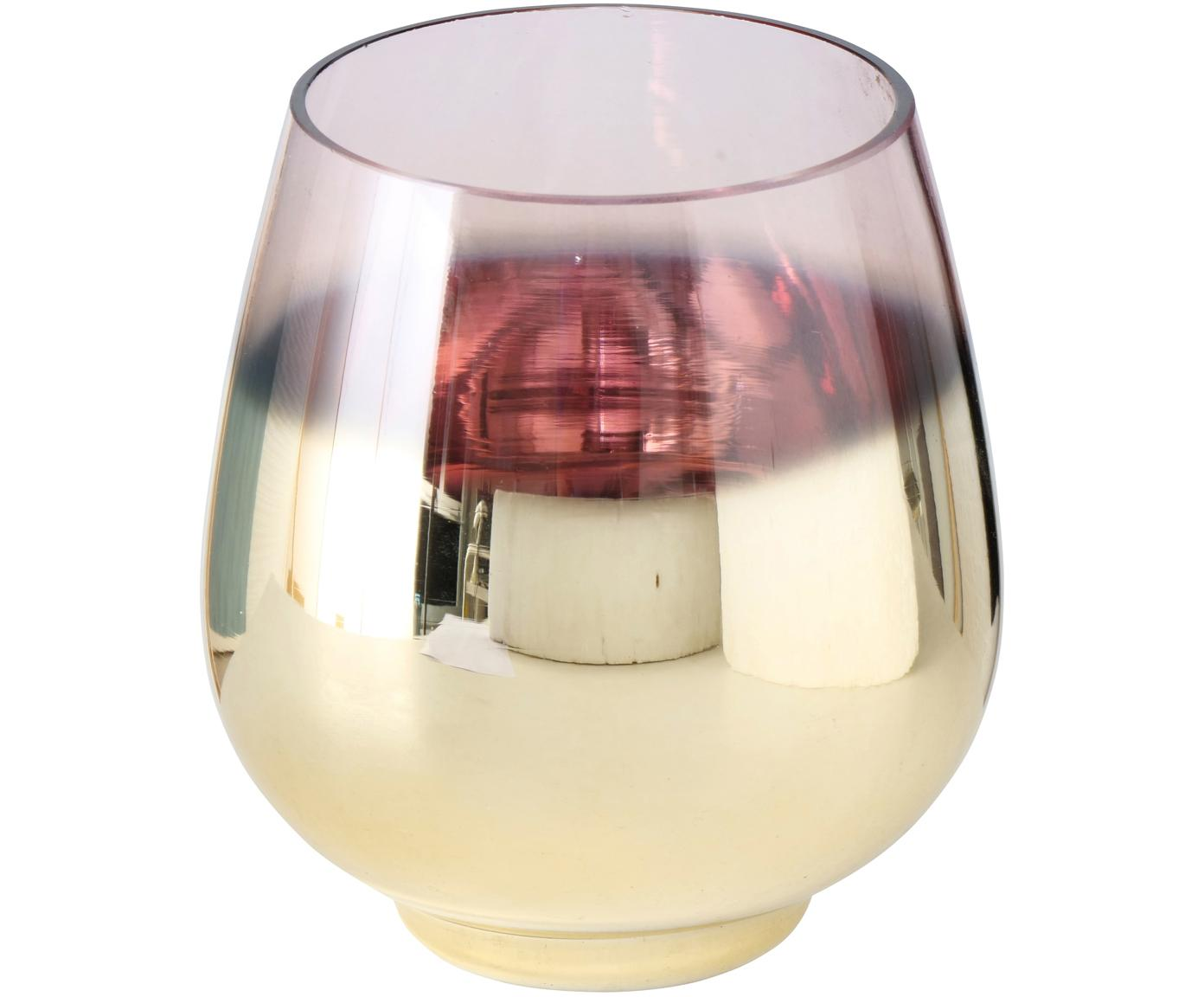 Windlicht Grazia, Glas, lackiert, Messingfarben, Ø 13 x H 15 cm