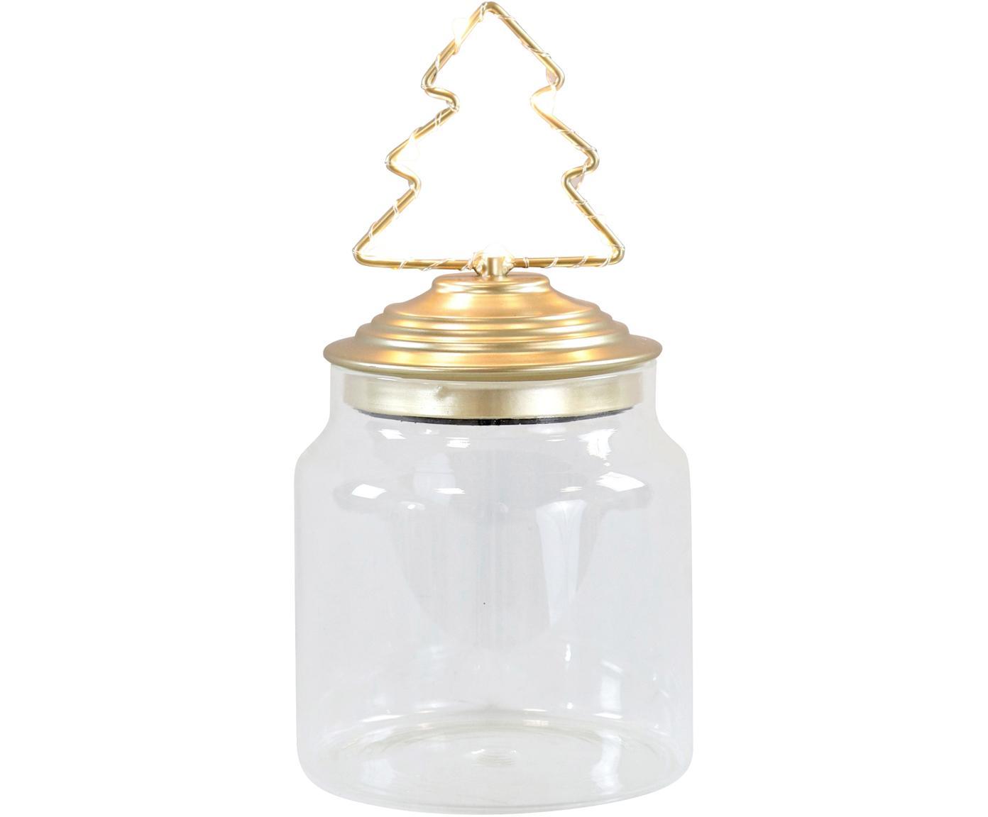 Bote con luces LED Tree, Transparente, dorado, Ø 11 x Al 15 cm