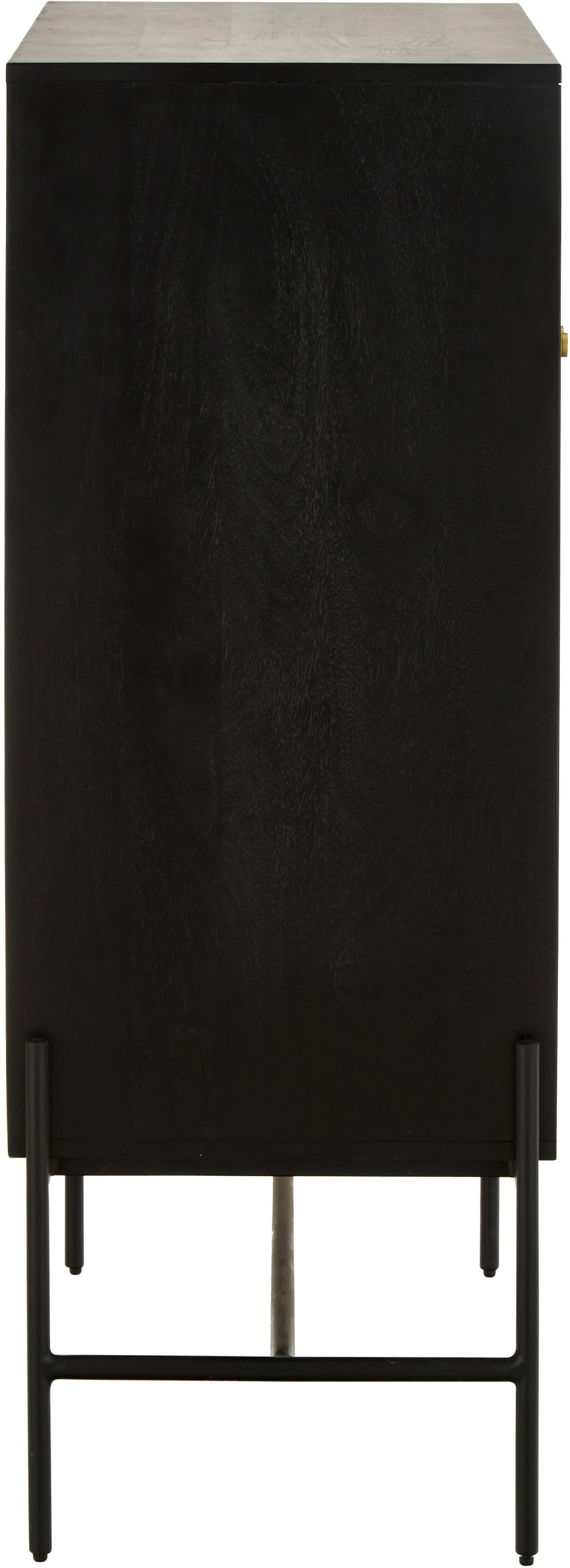 Highboard Vienna mit Wiener Geflecht, Korpus: Massives Mangoholz, lacki, Füße: Metall, pulverbeschichtet, Schwarz, 100 x 120 cm