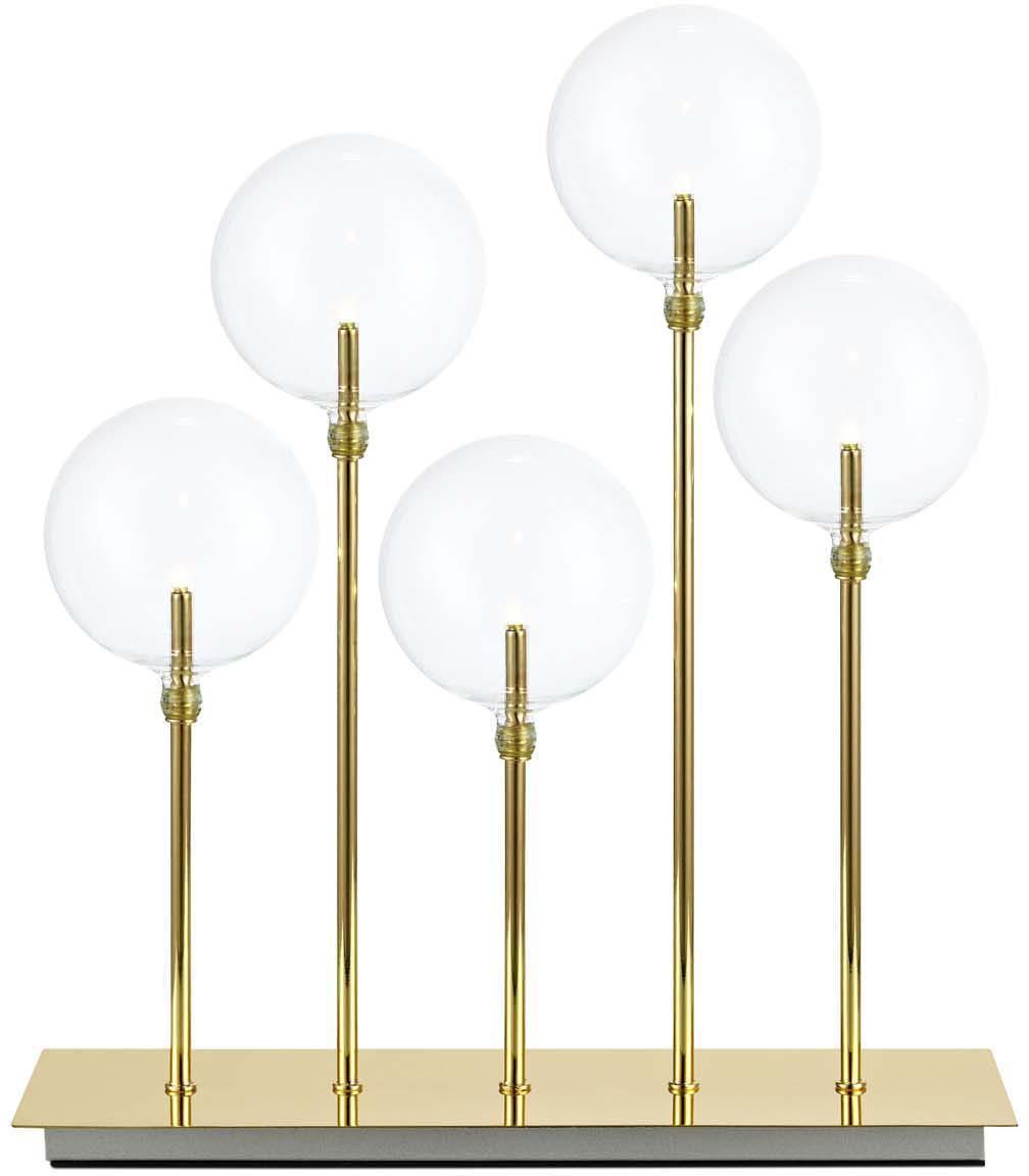 Lampada da tavolo Mäster, Paralume: vetro, Base della lampada: metallo, verniciato, Ottone, trasparente, Larg. 35 x Alt. 42 cm