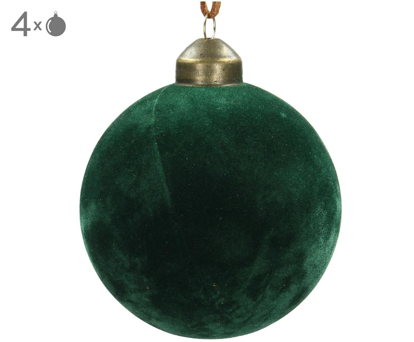 Bombka Velvet, 4 szt., Szkło, aksamit poliestrowy, Butelkowy zielony, Ø 8 cm