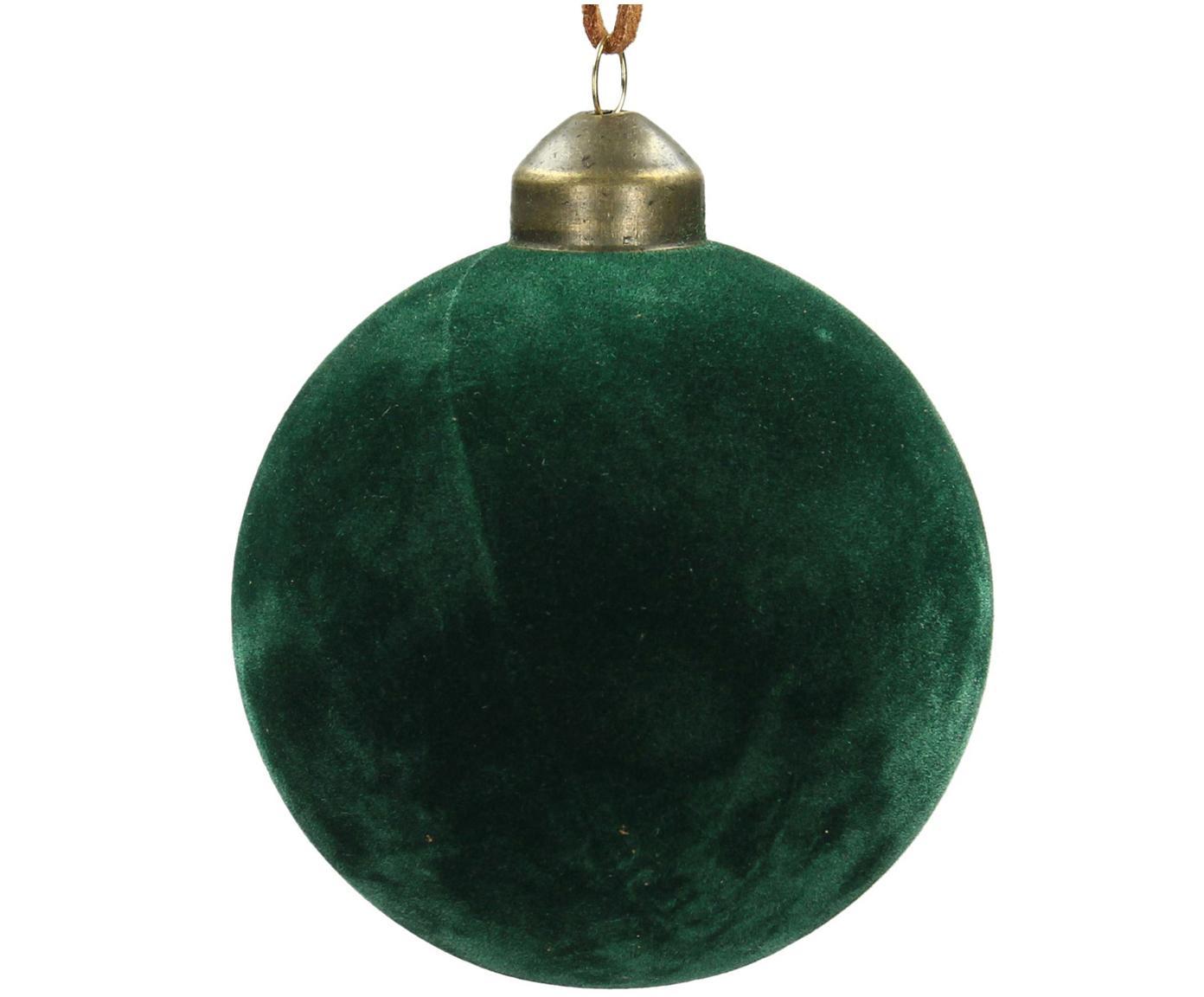 Kerstballen Velvet, 4 stuks, Glas, polyesterfluweel, Dennengroen, Ø 8 cm