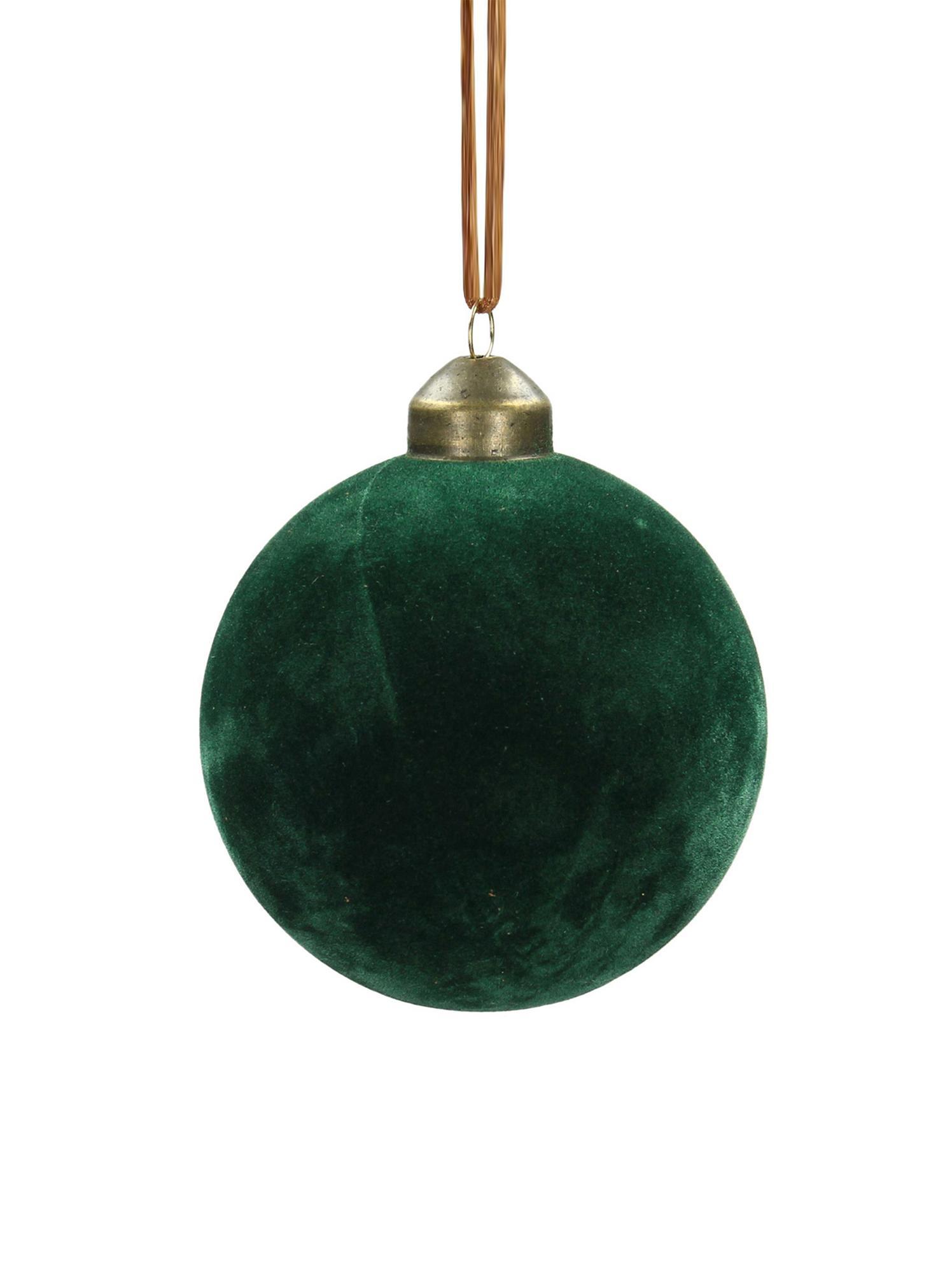 Bolas de Navidad Velvet, Ø8cm, 4uds., Vidrio, terciopelo de poliéster, Verde pino, Ø 8 cm