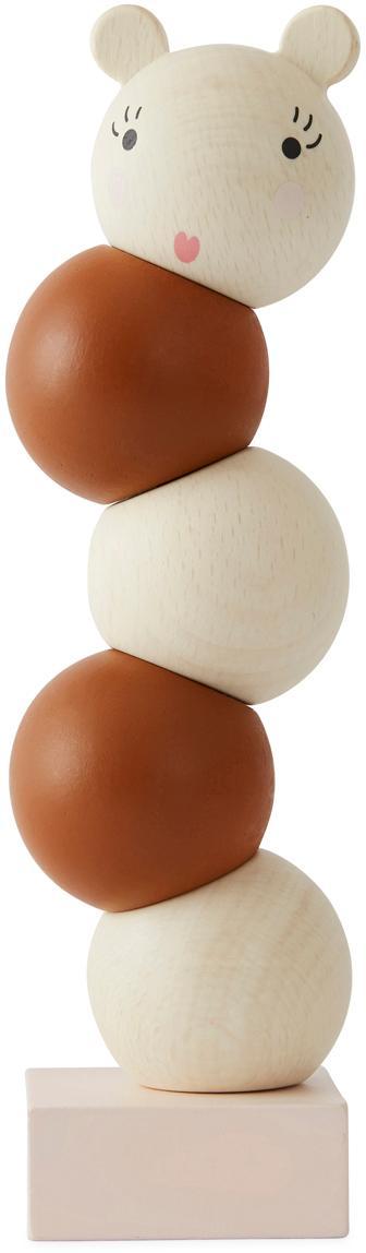 Giocatollo impilabile in legno di faggio Lala, Legno di faggio, rivestito, Marrone, crema, Ø 6 x Alt. 23 cm
