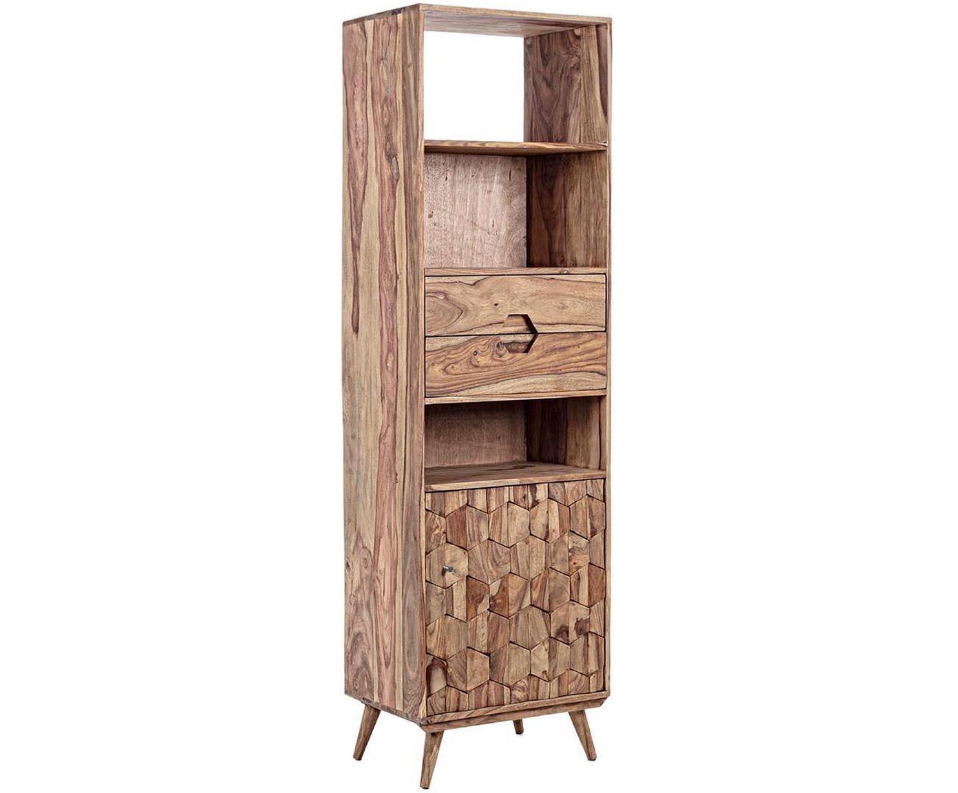 Estantería Kant, Estructura: madera de Sheesham, contr, Madera, An 58 x Al 194 cm
