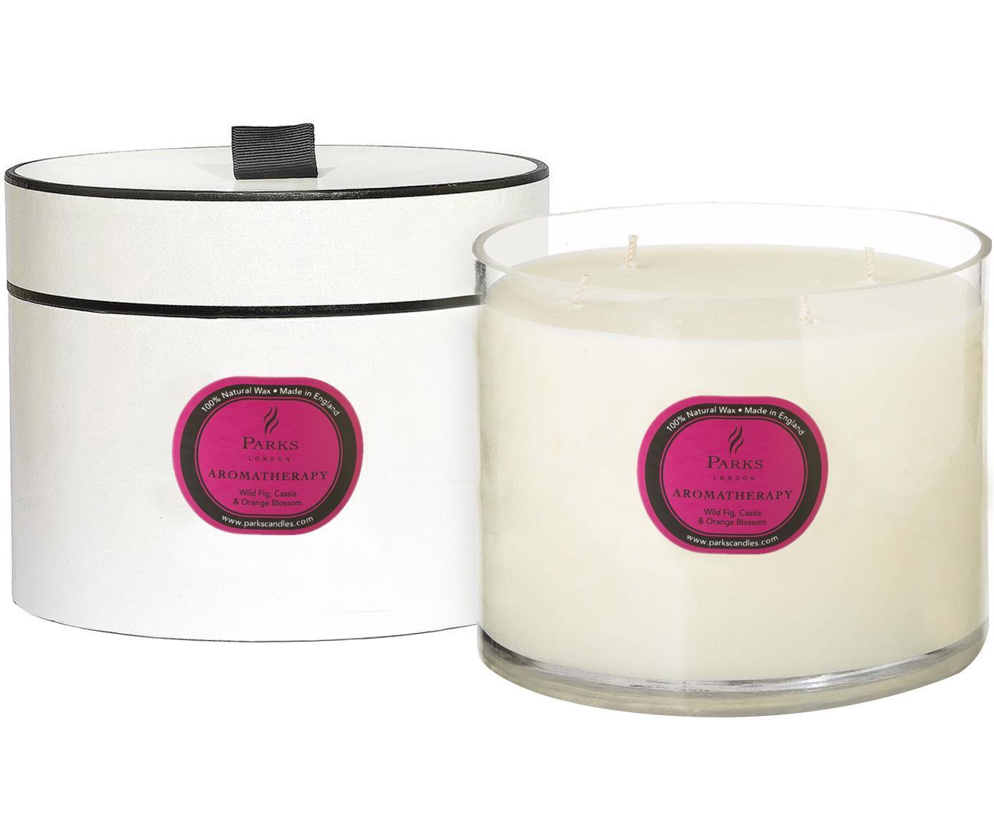 Vela perfumada con 4 mechas Aromatherapy (higo, casis y naranja), Recipiente: cristal, Transparente, crema, Ø 14 x Al 15 cm