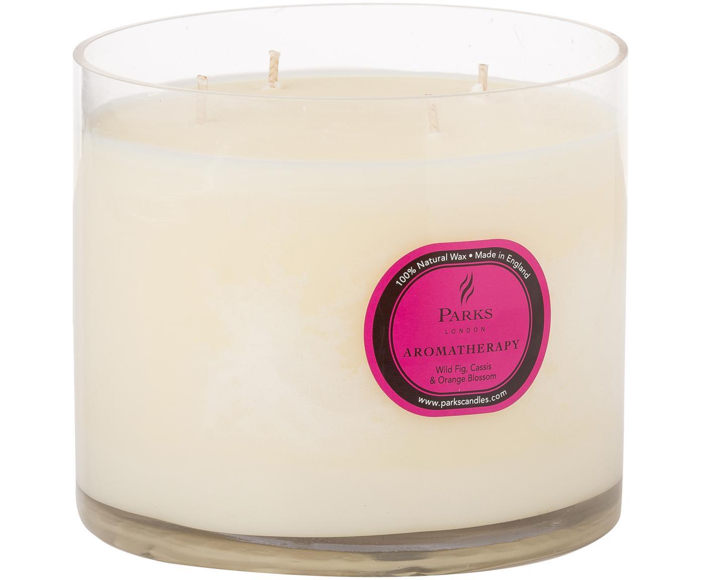 Vierdochtduftkerze Aromatherapy (Feige, Cassis & Orange), Behälter: Glas, Transparent, Creme, Ø 14 x H 15 cm