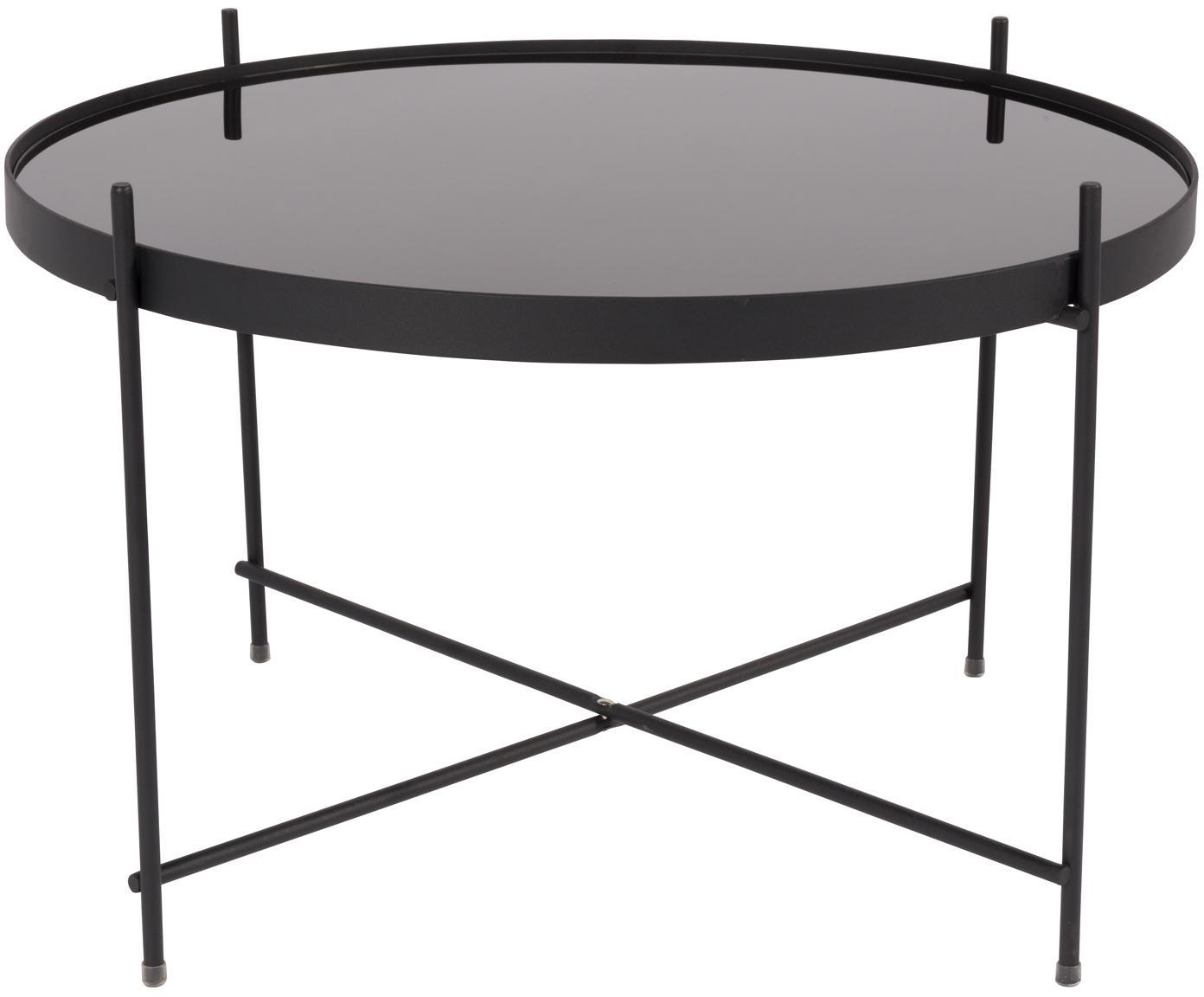 Kleine salontafel Cupid met glazen tafelblad, Frame: gepoedercoat metaal, Tafelblad: zwart glas, Zwart, Ø 63 x H 40 cm