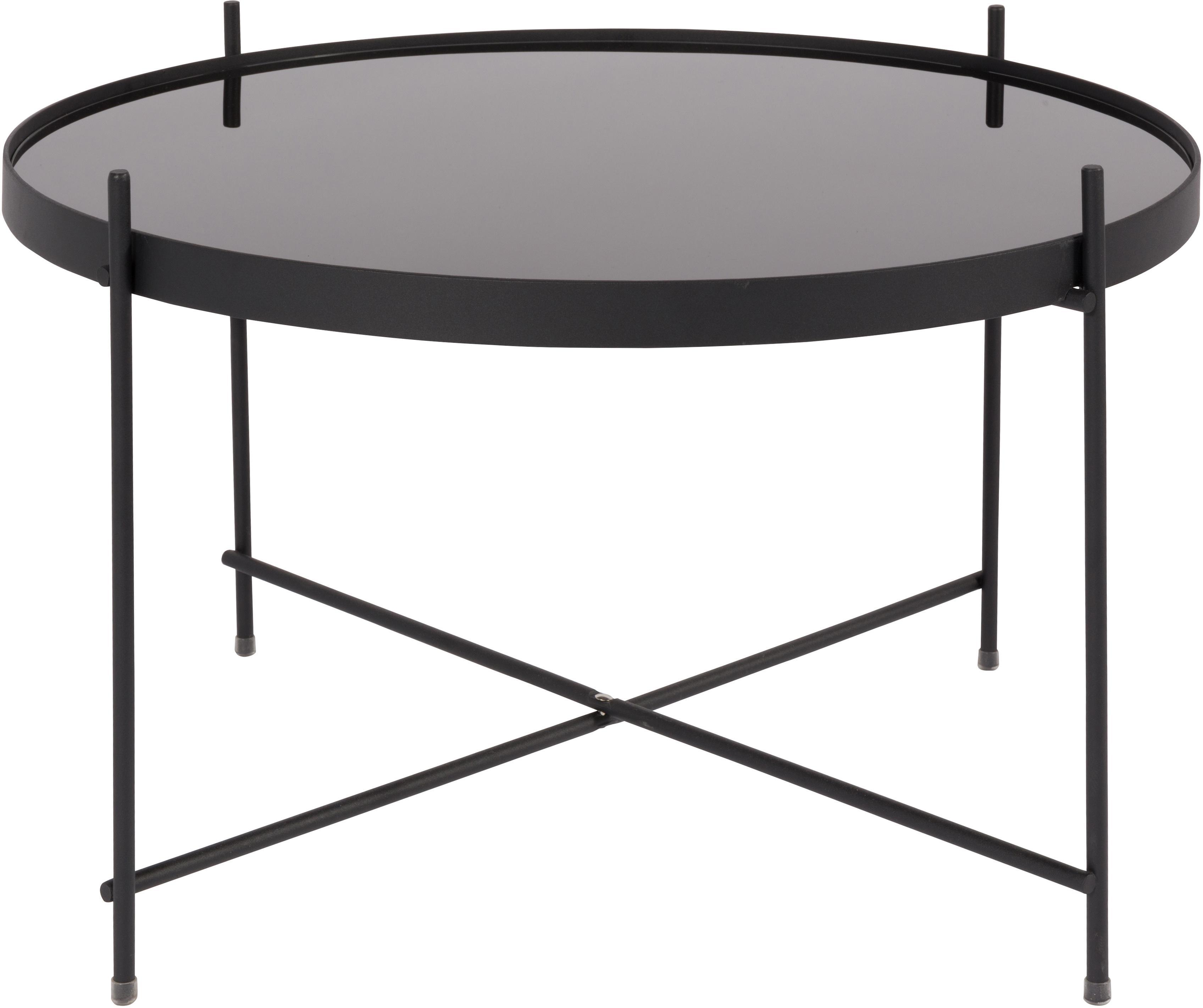 Tavolino da salotto con piano in vetro Cupid, Struttura: metallo verniciato a polv, Piano d'appoggio: vetro nero, Nero, Ø 63 x Alt. 40 cm