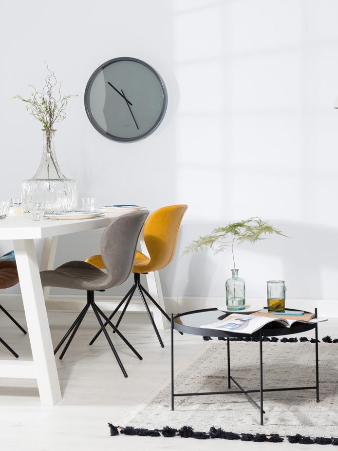 Kleiner Couchtisch Cupid mit Glasplatte, Gestell: Metall, pulverbeschichtet, Tischplatte: Schwarzglas, Schwarz, Ø 63 x H 40 cm