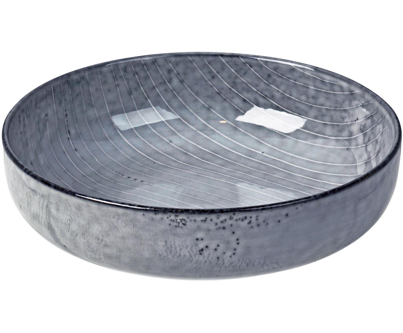 Ręcznie wykonana miska Nordic Sea, 4 szt., Kamionka, Szary i odcienie niebieskiego, Ø 17 cm