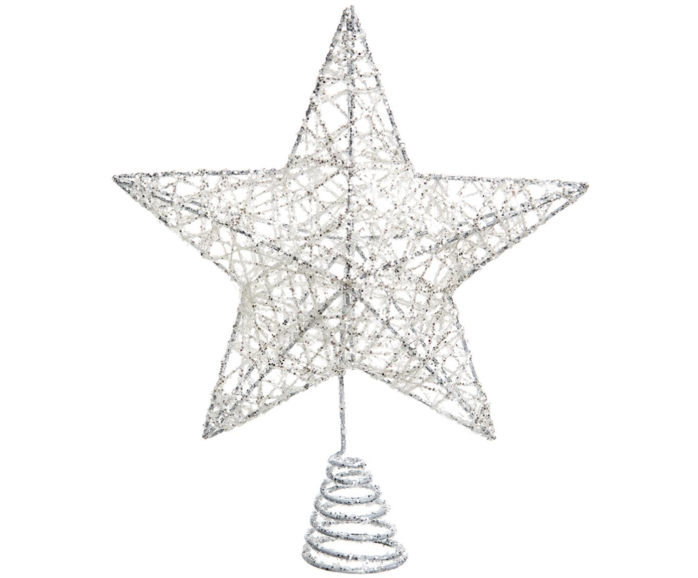 Decoración para punta del árbol Star, Hierro, Blanco, L 20 x Al 23 cm