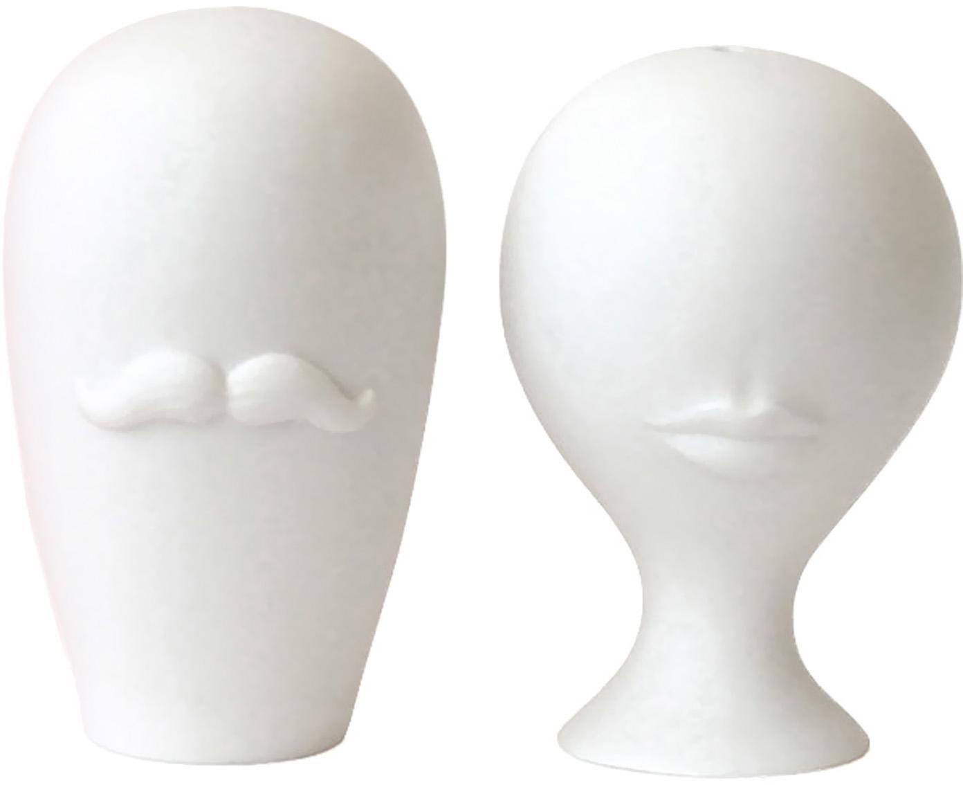 Designer Salz- und Pfefferstreuer Muse, 2er-Set, Porzellan, Weiss, Ø 5 x H 8 cm