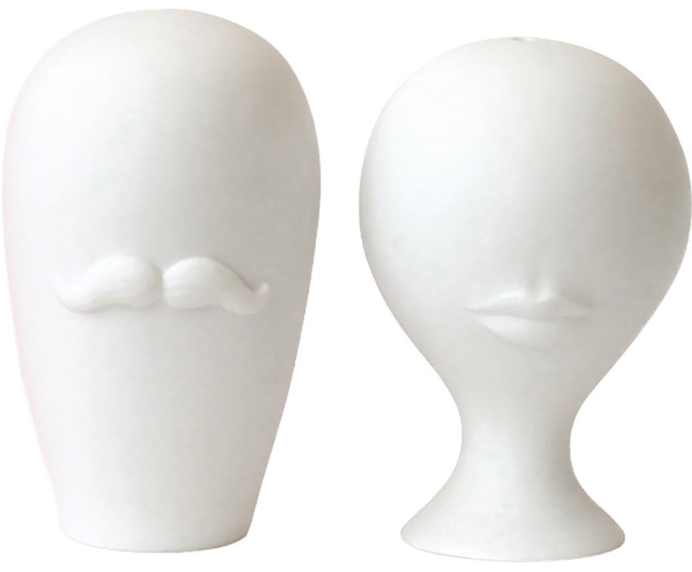 Solniczka i pieprzniczka Muse, 2 elem., Porcelana, Biały, Ø 8 x W 13 cm