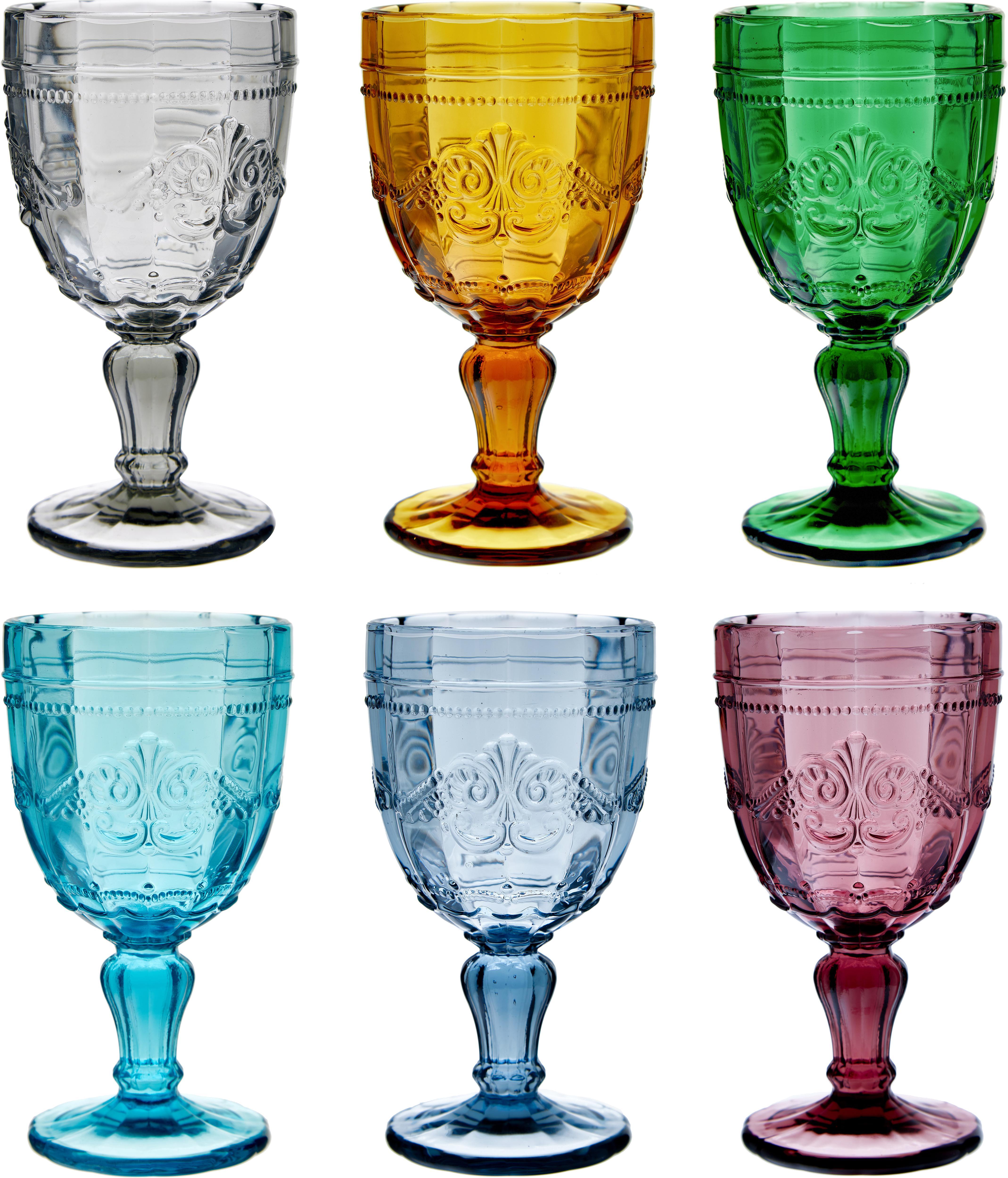 Copas de vino Syrah, 6uds., Vidrio, Rosa, azul, turquesa, verde, amarillo, gris, Ø 9 x Al 15 cm