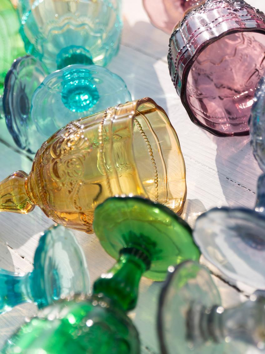 Bicchiere da vino colorato Syrah, set di 6, Vetro, Rosa, blu, turchese, verde, giallo, grigio, Ø 9 x Alt. 15 cm