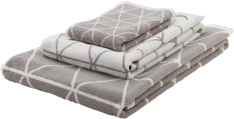 Set 3 asciugamani reversibili Elina, Grigio, bianco crema, Set in varie misure
