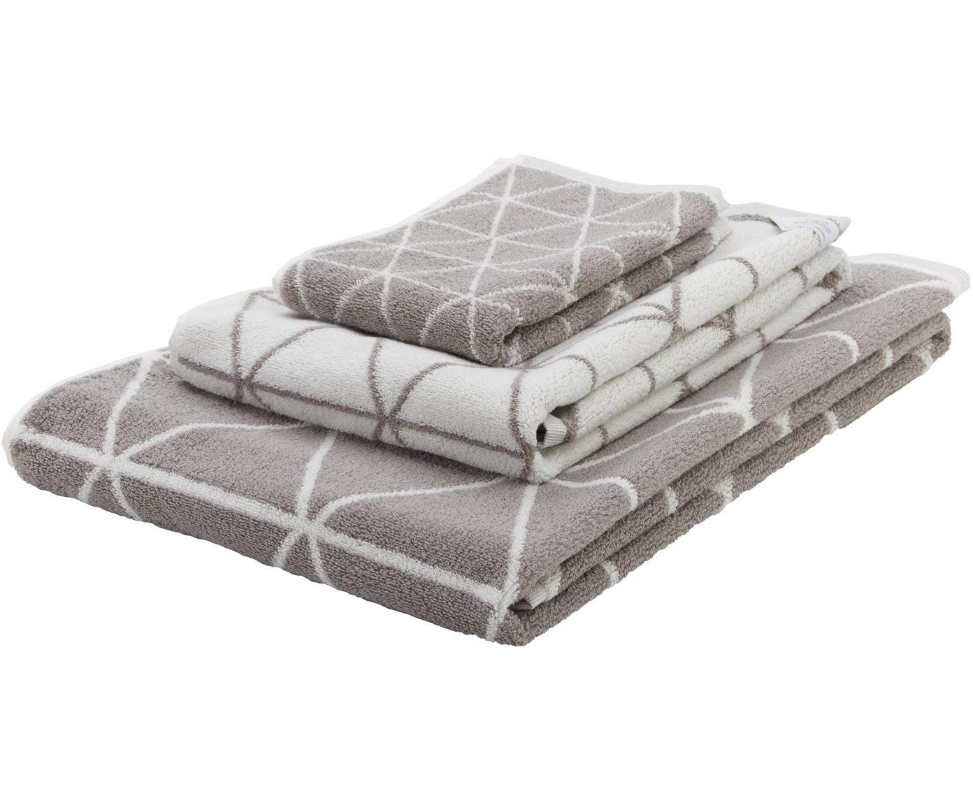 Dubbelzijdige handdoek-set Elina met grafisch patroon, 3-delig, Taupe, crèmewit, Verschillende formaten