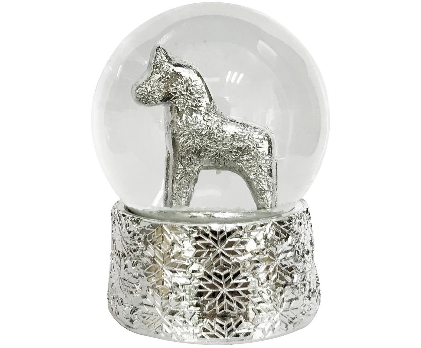 Sneeuwbol Serafina Horse, Stolp: glas, Voetstuk: polyresin, Zilverkleurig, Ø 7 x H 8 cm