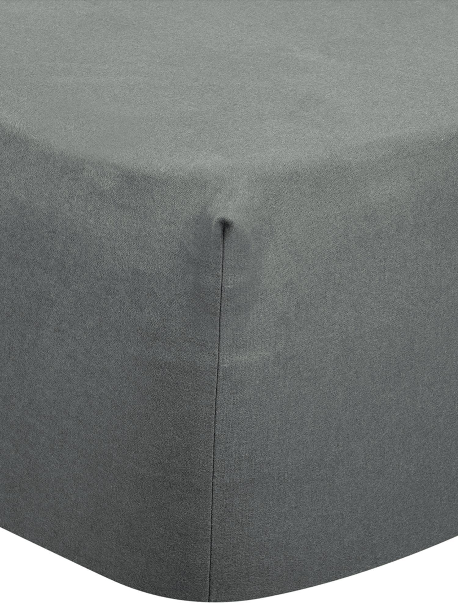 Prześcieradło z gumką z flaneli Biba, Ciemny szary, S 160 x D 200 cm