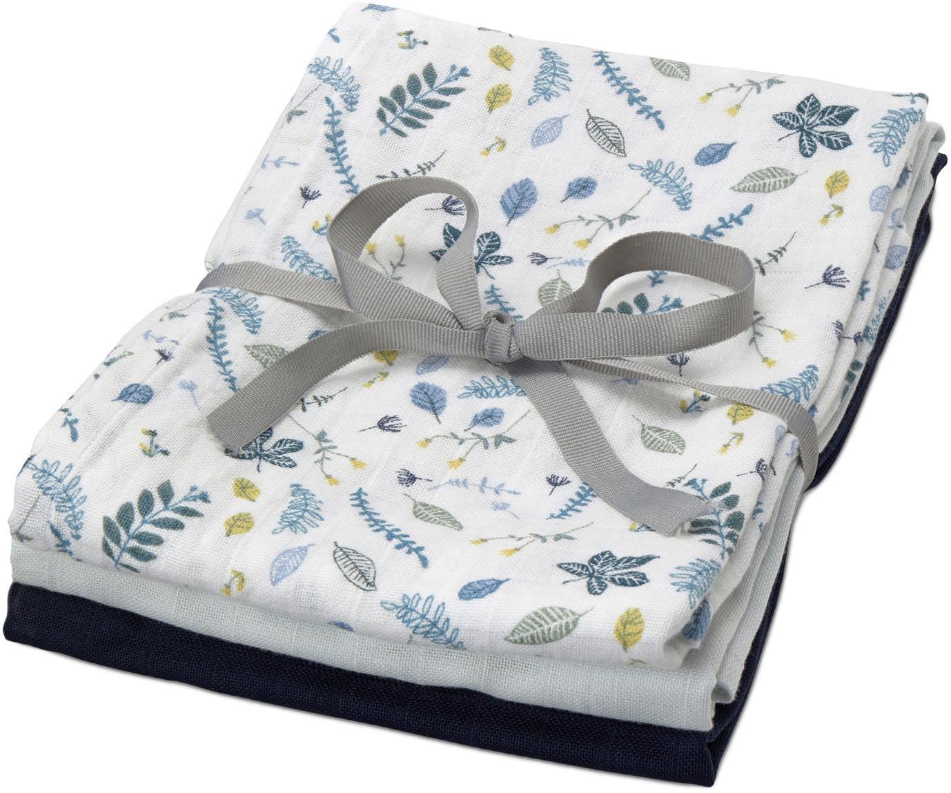 Set pañales de tela Pressed Leaves, 3pzas., Algodón orgánico, Blanco, azul, gris, amarillo, azul claro, azul oscuro, An 70 x L 70 cm