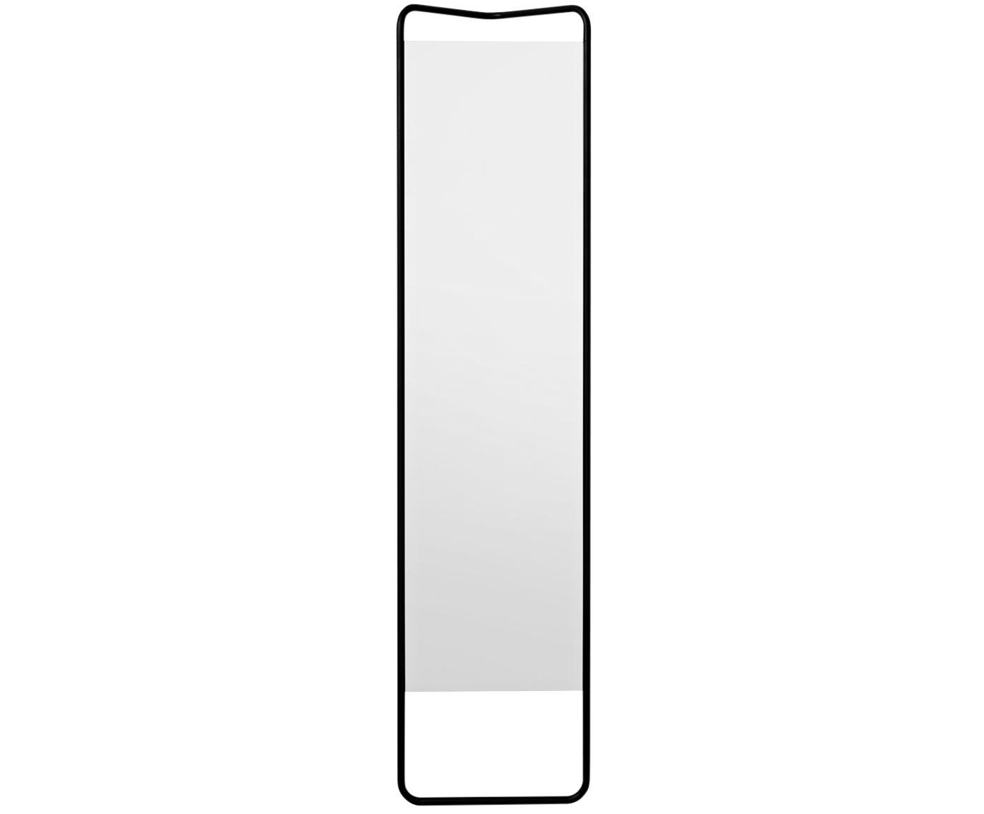 Rechthoekige leunende spiegel Kasch met zwarte lijst, Lijst: gepoedercoat aluminium, Zwart, 42 x 175 cm