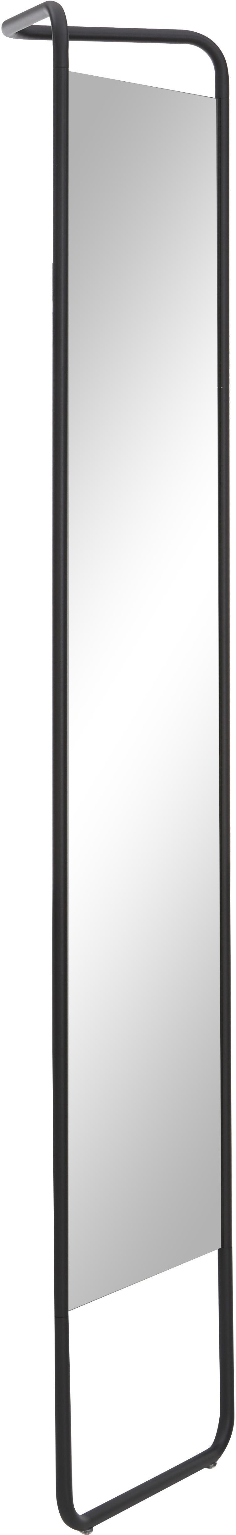 Eckiger Anlehnspiegel Kasch mit schwarzem Rahmen, Rahmen: Aluminium, pulverbeschich, Spiegelfläche: Spiegelglas, Schwarz, 42 x 175 cm