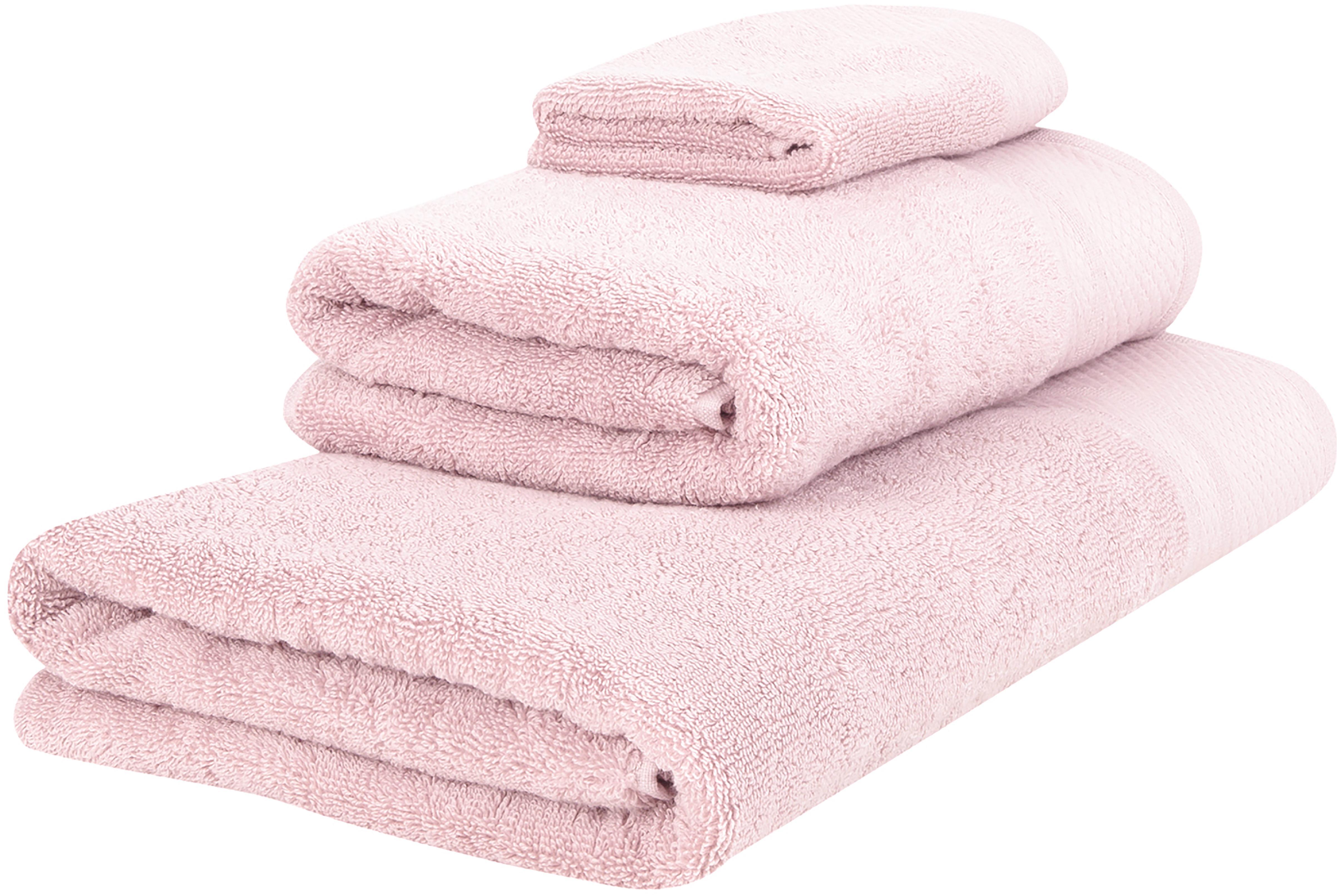 Komplet ręczników Premium, 3 elem., Brudny różowy, Różne rozmiary