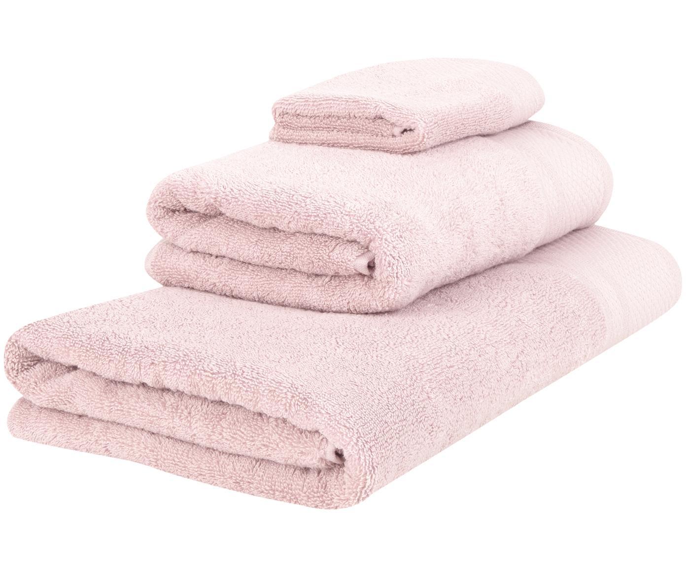 Set asciugamani Premium 3 pz, Rosa cipria, Diverse dimensioni
