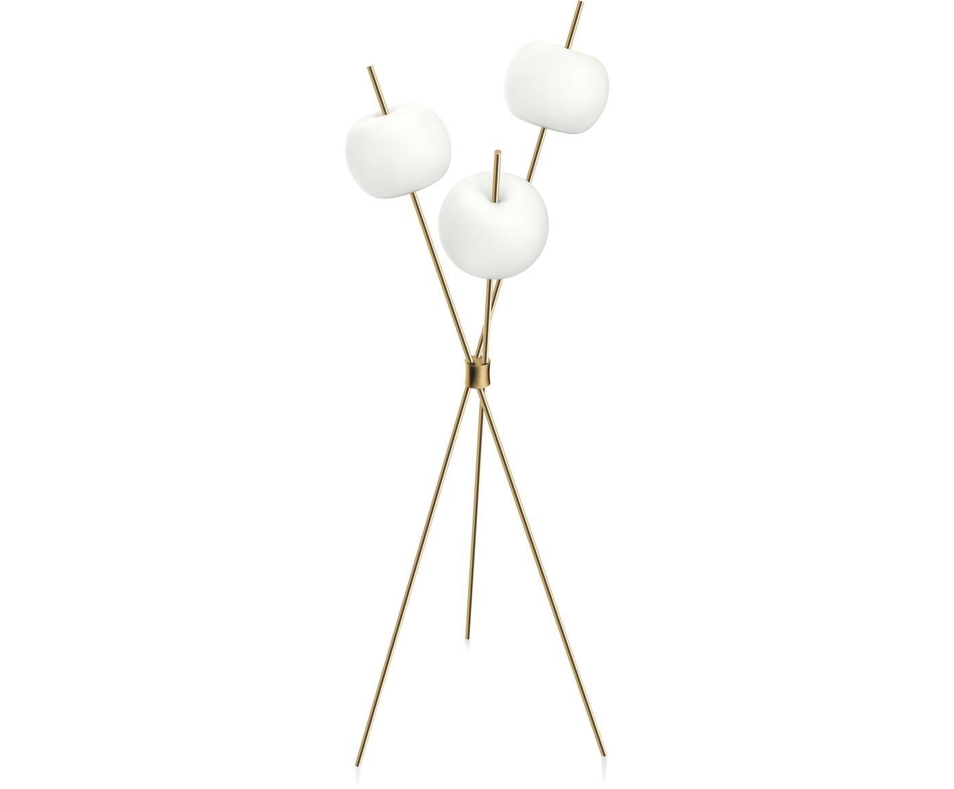 Lampa podłogowa z funkcją przyciemniania Kushi, Stelaż: mosiądz, malowane proszko, Odcienie mosiądzu, biały, Ø 56 x W 140 cm