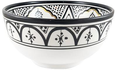 Handgefertigte Salatschüssel Couleur, Keramik, Schwarz, Cremefarben, Gold, Ø 25 x H 12 cm