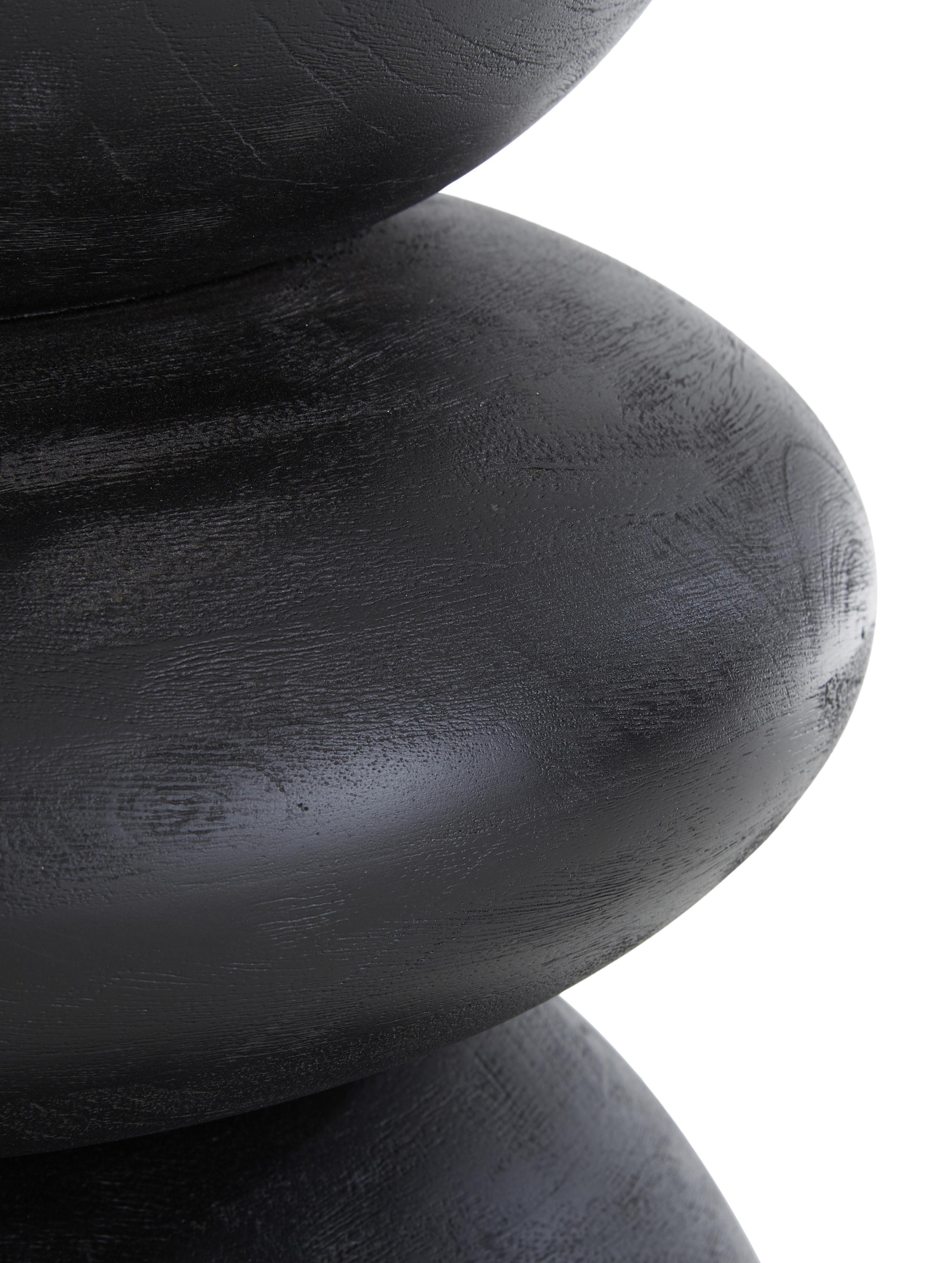 Tavolino rotondo in legno di mango  Benno, Legno di mango massiccio, verniciato, Legno di mango, nero verniciato, Ø 35 x Alt. 50 cm