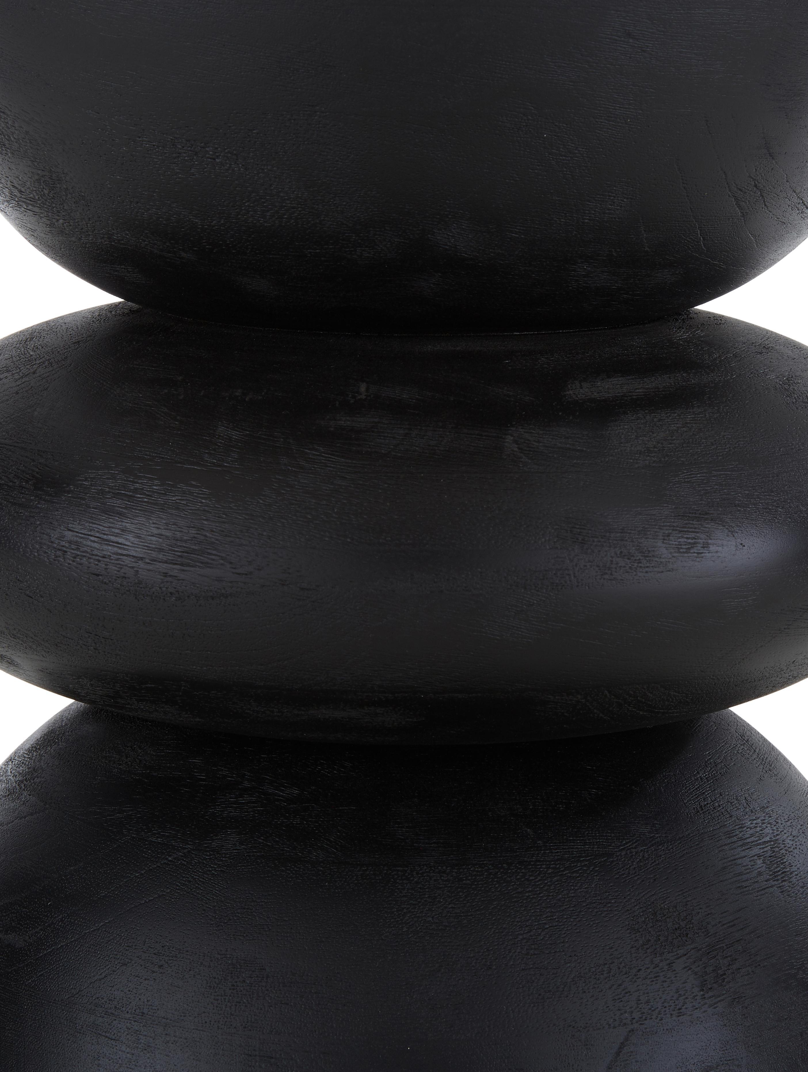 Beistelltisch Benno aus Mangoholz in Schwarz, Massives Mangoholz, lackiert, Mangoholz, schwarz lackiert, ∅ 35 x H 50 cm