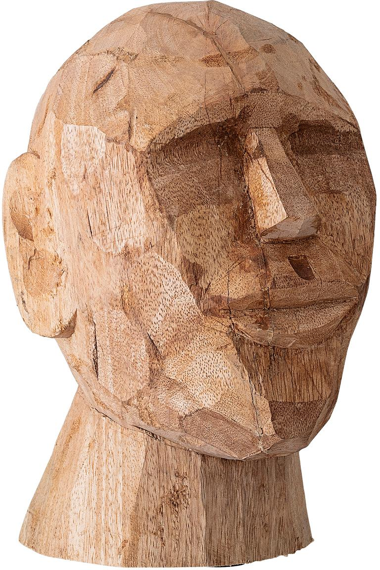 Handgemaakt decoratief object Face, Mangohout, Mangohoutkleurig, 16 x 24 cm