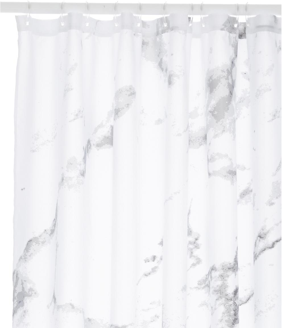 Cortina de baño Marble, 100%poliéster Repelente al agua, no impermeable, Gris antracita, blanco, An 180 x L 200 cm