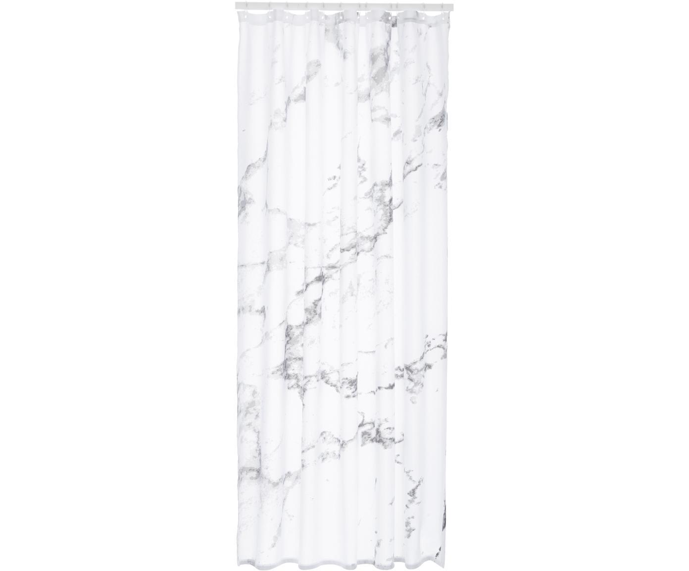 Zasłona prysznicowa Marble, Poliester, Antracytowy, biały, S 180 x D 200 cm