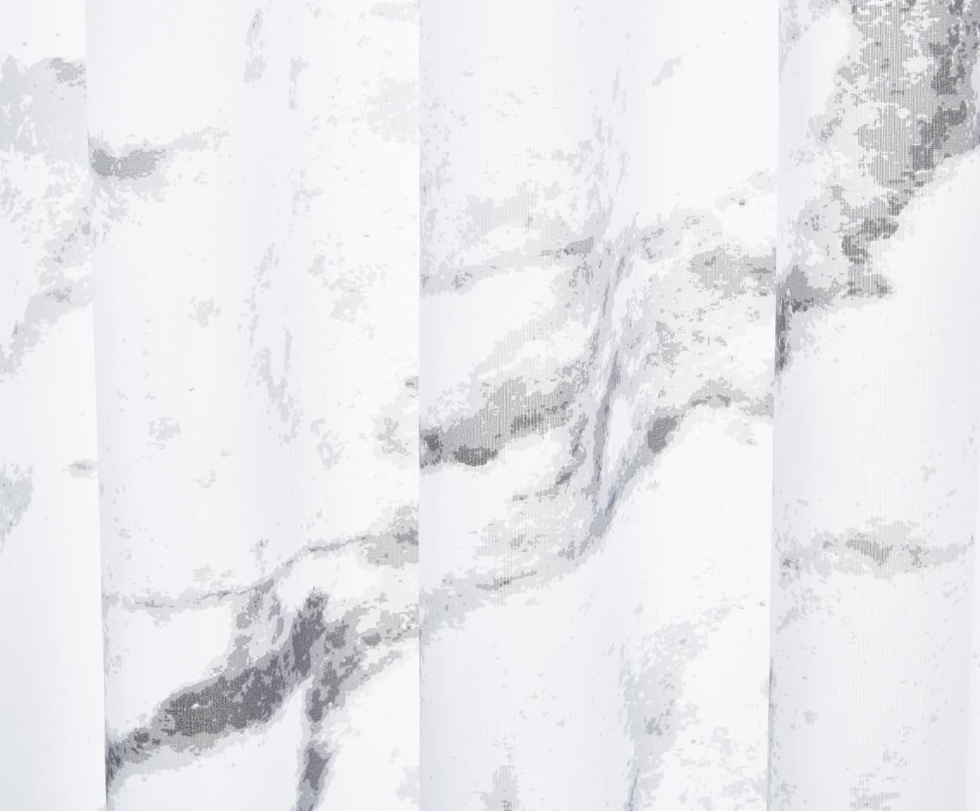 Douchegordijn Marble, Polyester Waterafstotend, niet waterdicht, Antraciet, wit, 180 x 200 cm
