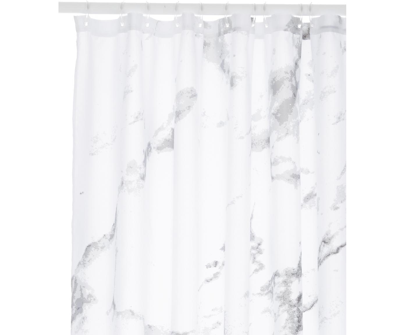 Cortina de baño Marble, Poliéster Repelente al agua, no impermeable, Gris antracita, blanco, An 180 x L 200 cm